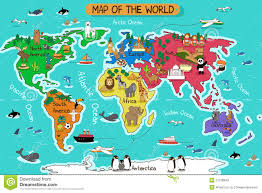 map of world world map with traditional animals of all the