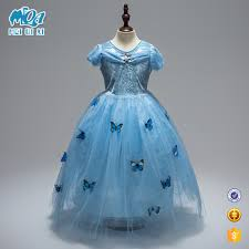 2017 high quality new model girls elsa frozen butterfly dress kids