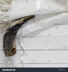 prayer shawl symbolism white prayer shawl tallit shofar horn stock photo 448741153