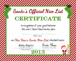 free printable nice list certificate from the north pole a