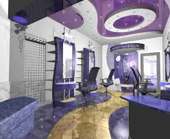 creative hair salon ideas with purple interior color and elegant