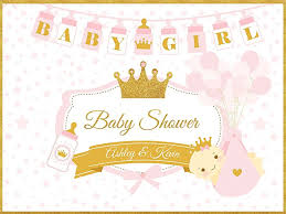 baby shower banners custom pink gold princess royal baby shower