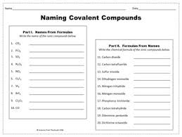 naming covalent compounds worksheet for review or assessment tpt