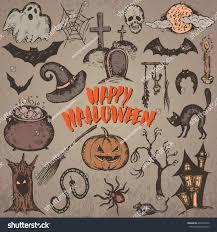 vector set sketch halloween characters witch stock vector
