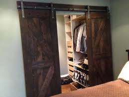 Closet Barn Doors Two Of Brown Wood Sliding Barn Doors With Union
