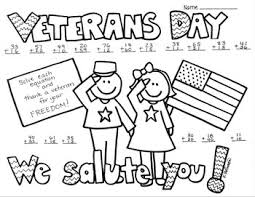 veterans day 2 digit no regrouping addition coloring printable