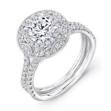 uneek vintage style round diamond engagement ring with art deco