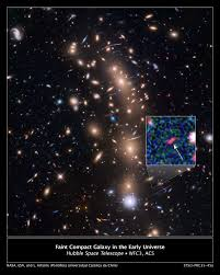 magnified image of the faintest galaxy from the early universe nasa
