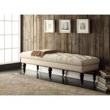 Tufted Bedroom Bench Linon 62 Inch Linen Tufted Bench Free Shipping Today Overstock