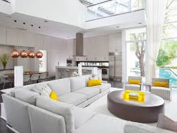 Open Floor Plans With Lots Of Windows Pale Gray Sofa Tall Ceiling Open Floor Plan Sectional Copper