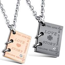 necklace story images Love story notebook stainless steel charm necklace for couples jpg
