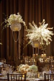 reception décor photos floral and crystal centerpieces inside