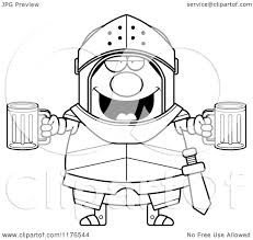 beer cartoon black and white cartoon of a black and white drunk armoured knight with beer
