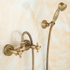 Brass Shower Faucets 2017 Antique Brass Bathroom Bath Wall Mounted Hand Held Shower