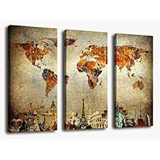 home interior items amazon com wall canvas painting vintage travel map