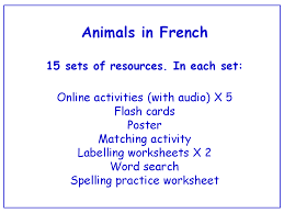 animal body parts in french worksheets games activities and