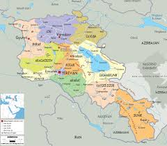 England On Map Large Detailed Road And Administrative Map Of Armenia Armenia