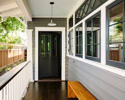 image result for craftsman style grey house with black windows