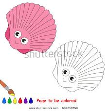 pink sea shell coloring book educate stock vector 729896686