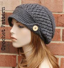 free pattern newsboy cap shop crochet slouchy hat with brim on wanelo