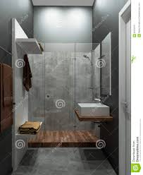 Concrete Loft Bathroom Modern Loft Style 3d Render Stock Illustration Image