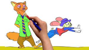 zootopia nick and judy coloring book cartoon movie