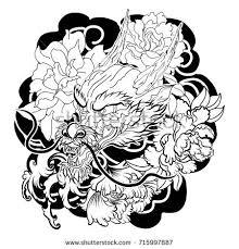 tattoo design chinese dragon lotus sakura stock vector 715997887