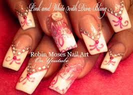 pink and white french manicure with bling nail art design tutorial