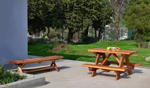 kid size wood picnic table with attached benches forever redwood