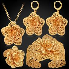 big necklace sets images Big flower wedding jewelry cuff bracelet ring earrings necklace jpg
