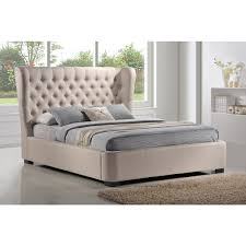 Upholstered Platform Bed King Bedford King Upholstered Platform Bed Beige Midcentury Throughout
