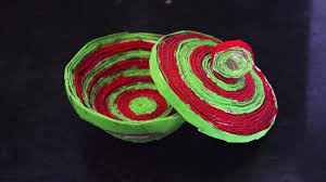 Home Decoration Diy Paper Bowl In Home Decoration Crafts By Srujanatv Youtube