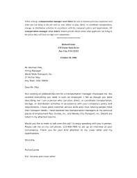 basic transportation manager cover letter samples and templates