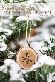 wood burned snowflake ornament cherished bliss