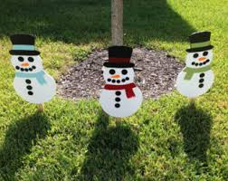 Snowman Lawn Decorations Flowerbed Sign Etsy