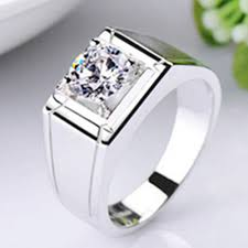 men rings platinum images Solid silver man jewelry 0 5ct synthetic diamonds ring for husband jpg