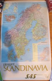 Sas Route Map by Sas Original Vintage Posters Early 60 U0027s Size 24x39 Inches