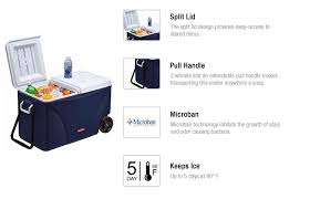 Rubbermaid The Home Depot Rubbermaid 75 Qt Blue Wheeled Cooler Fg2c0902modbl The Home Depot