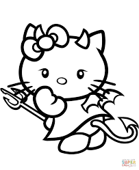 hello kitty devil coloring page free printable coloring pages