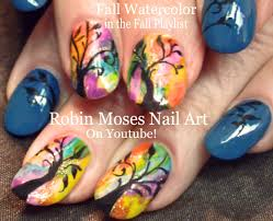 easy rainbow watercolor trees fun and trendy tree nail design