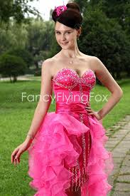 attractive low cut sweetheart neckline puffy mini length pink
