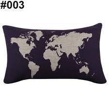 World Map Bedding World Map Birds Print Linen Rectangle Throw Pillow Case Cushion