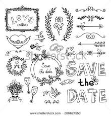 set wedding ornaments decorative elements stock vector 286627553