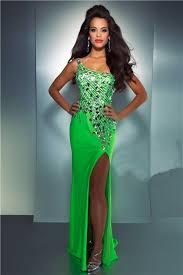 shoulder see through back long neon green chiffon sequin crystal