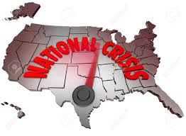 United States On A Map by The Words National Crisis On A Map Of The United States Of America