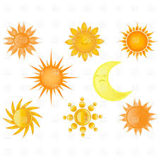 collection of suns and half moon royalty free vector clip