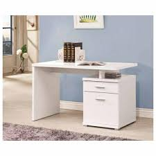 stylish computer desk rectangle white wooden computer desk with file cabinet in blue