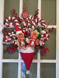 plush gingerbread santa hat arrangement wreath swag decor
