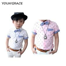 2016 new design boys summer anchor pattern dress wedding shirts