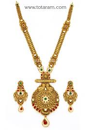 gold antique necklace sets images 22k gold long antique necklace drop earrings set with stones jpg